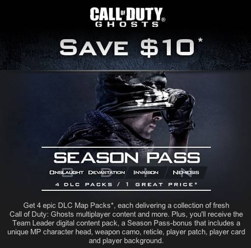 They were reportedly leaked in an email announcement sent by Call of Duty Ghosts advertising the CoD Ghosts Season Pass.