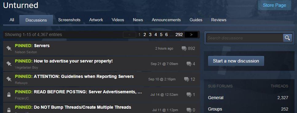 steam unturned forum