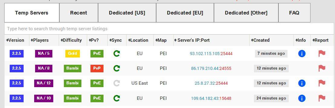 unturned servers list